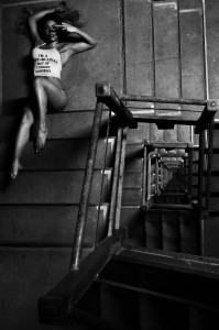 B&W of Kyra on descending stairs by George Vordos